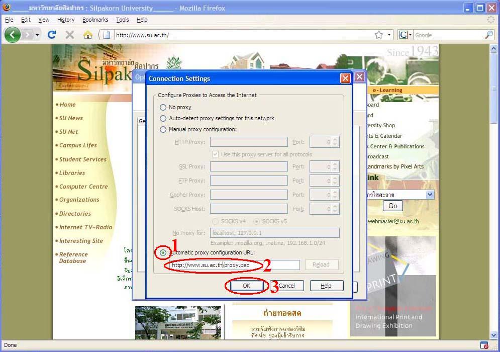 Silpakorn University SUNet : Proxy Setup : FireFox